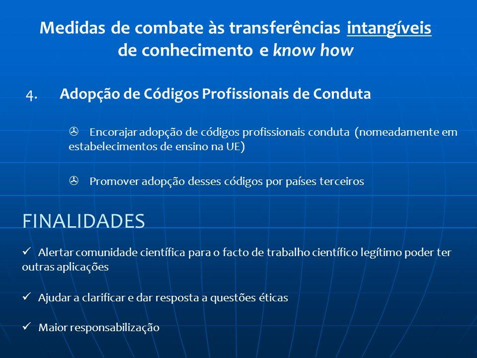 Medidas de combate às transferências intangíveis de conhecimento e know how 4. Adopção de Códigos Profissionais de Conduta Encorajar adopção de código