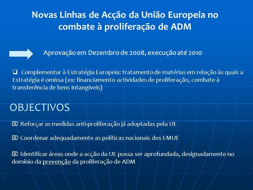 Novas Linhas de Acção da União Europeia no combate à proliferação de ADM Aprovação em Dezembro de 2008, execução até 2010 Complementar à Estratégia Eu