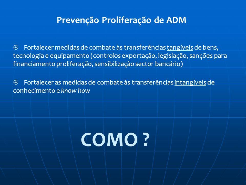Prevenção Proliferação de ADM Fortalecer medidas de combate às transferências tangíveis de bens, tecnologia e equipamento (controlos exportação, legis