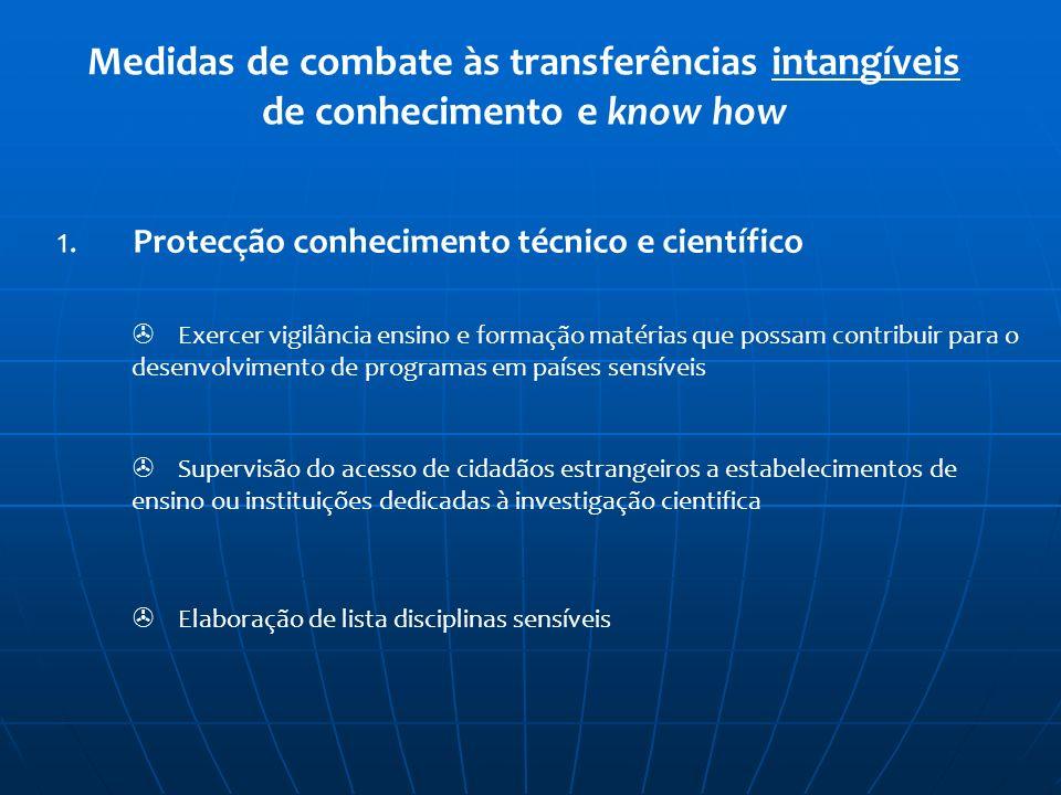 Medidas de combate às transferências intangíveis de conhecimento e know how 1. Protecção conhecimento técnico e científico Exercer vigilância ensino e