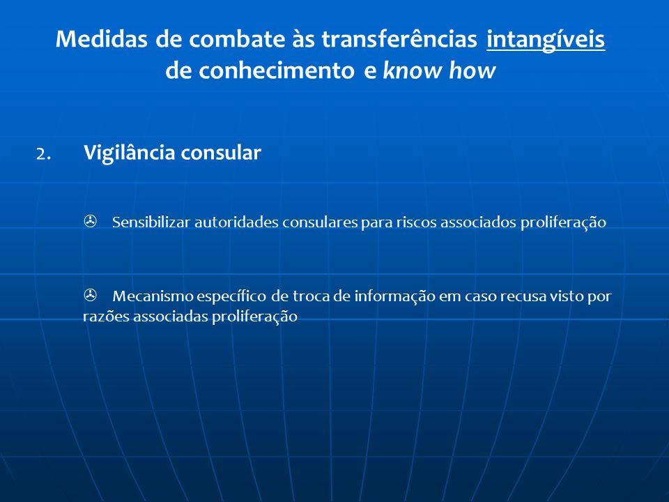 Medidas de combate às transferências intangíveis de conhecimento e know how 2. Vigilância consular Sensibilizar autoridades consulares para riscos ass