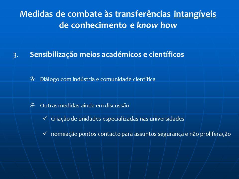Medidas de combate às transferências intangíveis de conhecimento e know how 3. Sensibilização meios académicos e científicos Diálogo com indústria e c