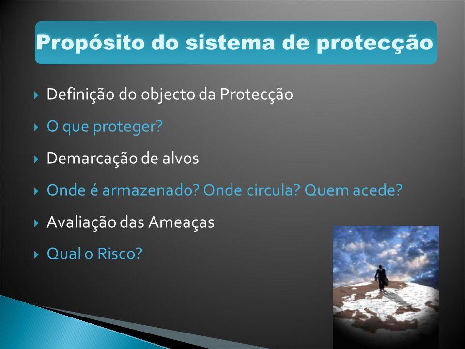 Definição do objecto da Protecção O que proteger? Demarcação de alvos Onde é armazenado? Onde circula? Quem acede? Avaliação das Ameaças Qual o Risco?