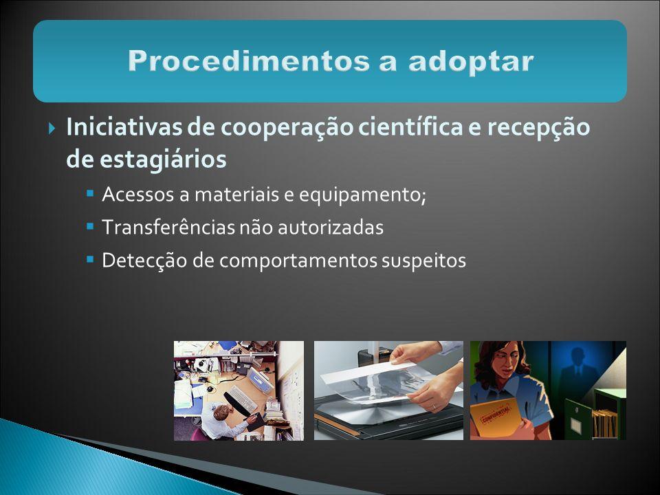 Iniciativas de cooperação científica e recepção de estagiários Acessos a materiais e equipamento; Transferências não autorizadas Detecção de comportam