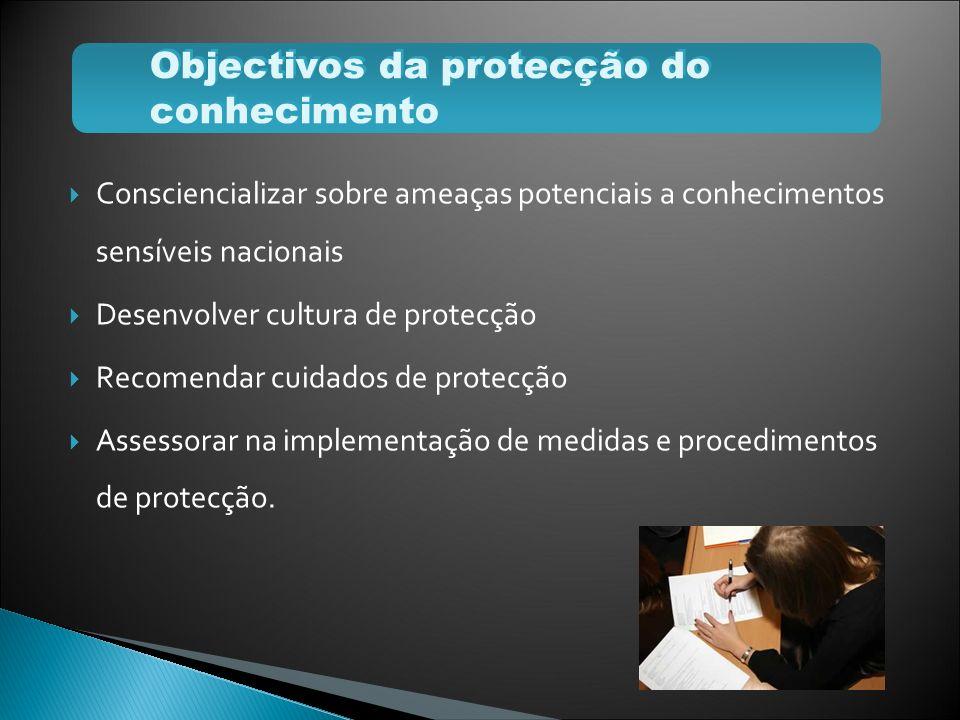 Consciencializar sobre ameaças potenciais a conhecimentos sensíveis nacionais Desenvolver cultura de protecção Recomendar cuidados de protecção Assess