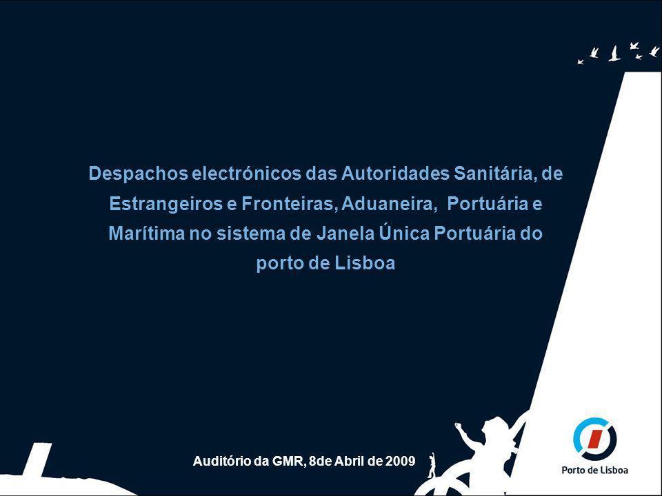 Abril de 2009 1 Despachos electrónicos das autoridades oficiais Despachos electrónicos das Autoridades Sanitária, de Estrangeiros e Fronteiras, Aduaneira, Portuária e Marítima no sistema de Janela Única Portuária do porto de Lisboa Auditório da GMR, 8de Abril de 2009