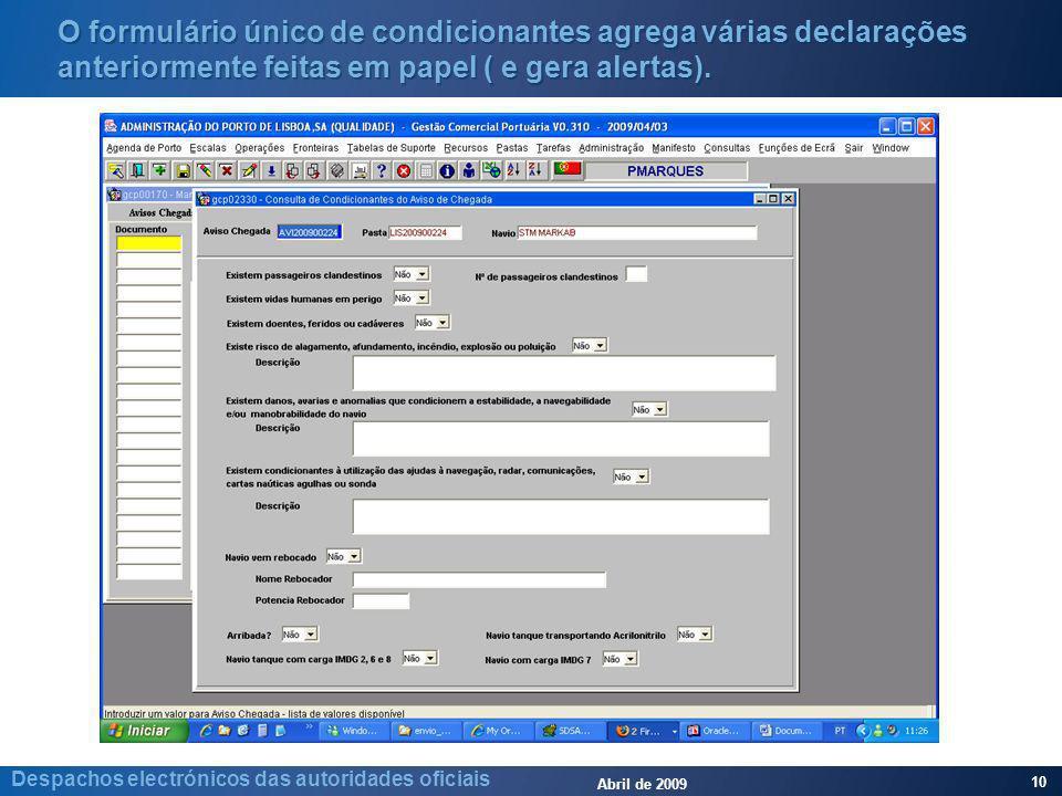 Abril de 2009 10 Despachos electrónicos das autoridades oficiais O formulário único de condicionantes agrega várias declarações anteriormente feitas em papel ( e gera alertas).