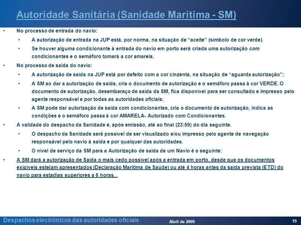 Abril de 2009 19 Despachos electrónicos das autoridades oficiais Autoridade Sanitária (Sanidade Marítima - SM) No processo de entrada do navio: A autorização de entrada na JUP está, por norma, na situação de aceite (símbolo de cor verde).