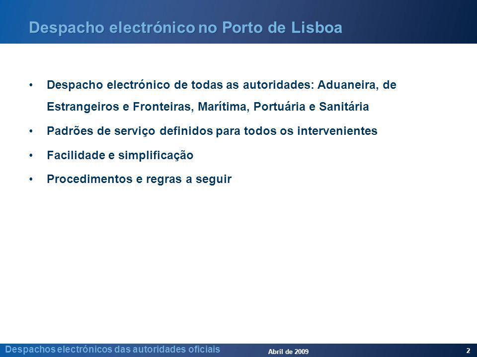 Abril de 2009 2 Despachos electrónicos das autoridades oficiais Despacho electrónico no Porto de Lisboa Despacho electrónico de todas as autoridades: