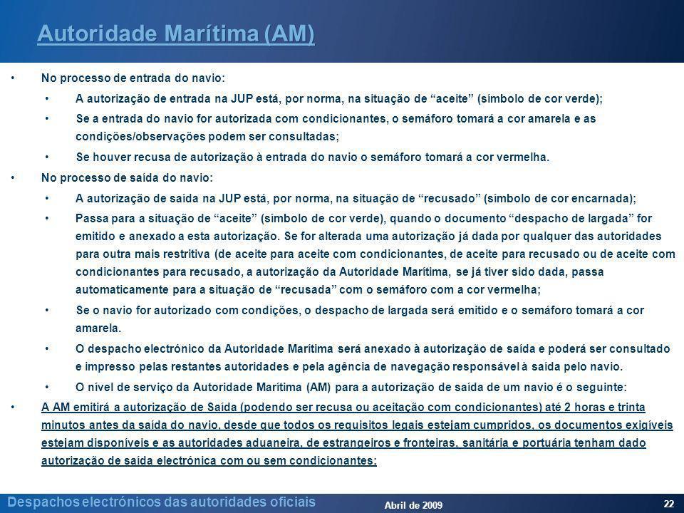 Abril de 2009 22 Despachos electrónicos das autoridades oficiais Autoridade Marítima (AM) No processo de entrada do navio: A autorização de entrada na