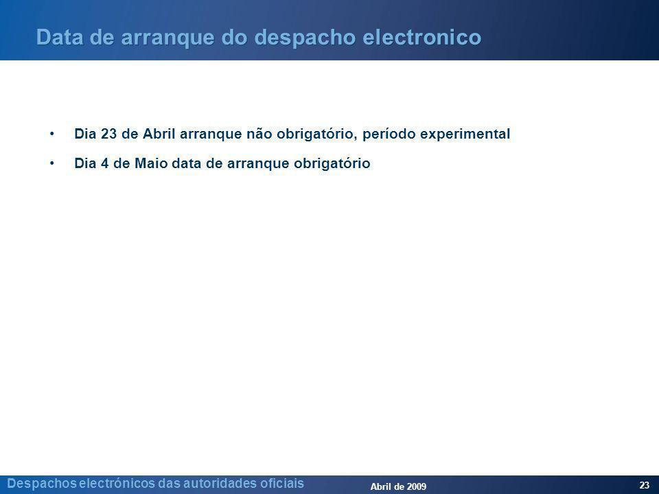 Abril de 2009 23 Despachos electrónicos das autoridades oficiais Data de arranque do despacho electronico Dia 23 de Abril arranque não obrigatório, pe