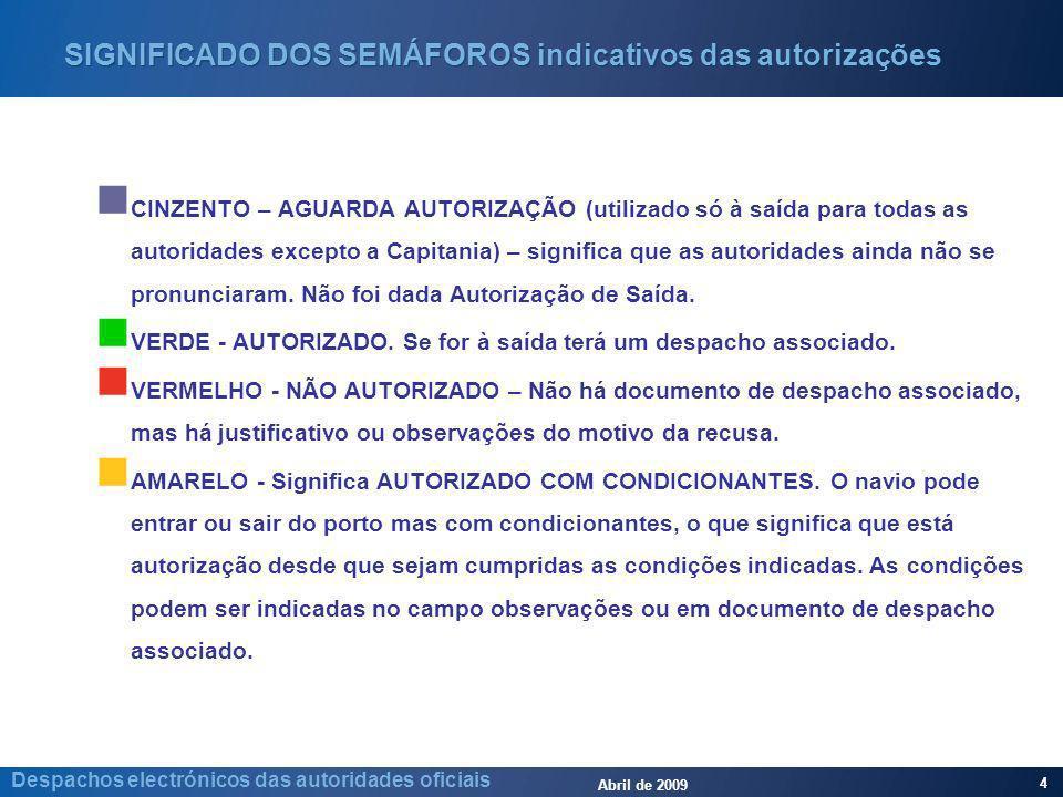 Abril de 2009 4 Despachos electrónicos das autoridades oficiais SIGNIFICADO DOS SEMÁFOROS indicativos das autorizações CINZENTO – AGUARDA AUTORIZAÇÃO