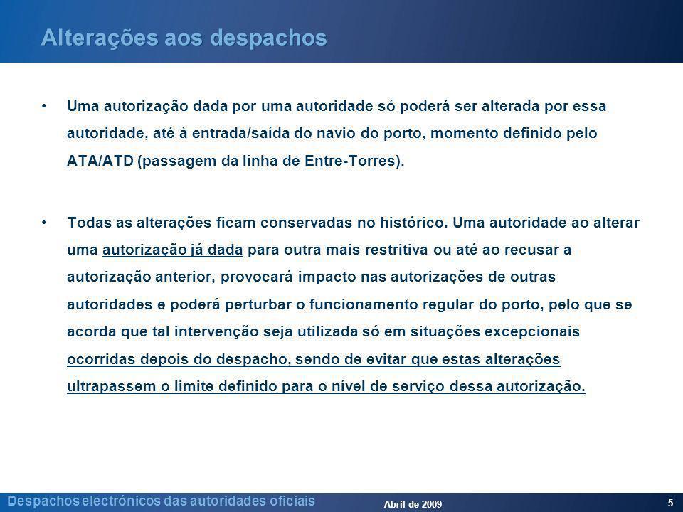 Abril de 2009 5 Despachos electrónicos das autoridades oficiais Alterações aos despachos Uma autorização dada por uma autoridade só poderá ser alterada por essa autoridade, até à entrada/saída do navio do porto, momento definido pelo ATA/ATD (passagem da linha de Entre-Torres).