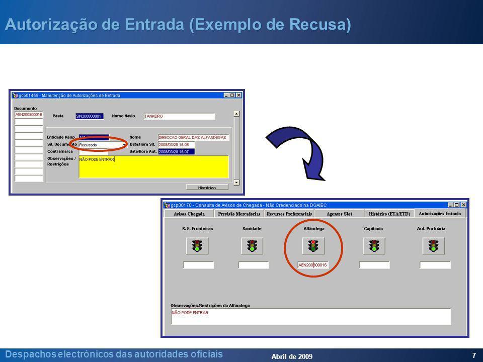 Abril de 2009 7 Despachos electrónicos das autoridades oficiais Autorização de Entrada (Exemplo de Recusa)