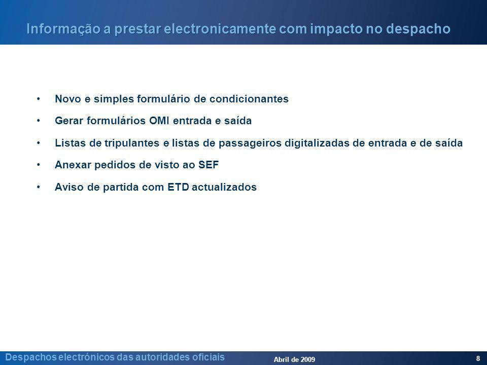Abril de 2009 8 Despachos electrónicos das autoridades oficiais Informação a prestar electronicamente com impacto no despacho Novo e simples formulári