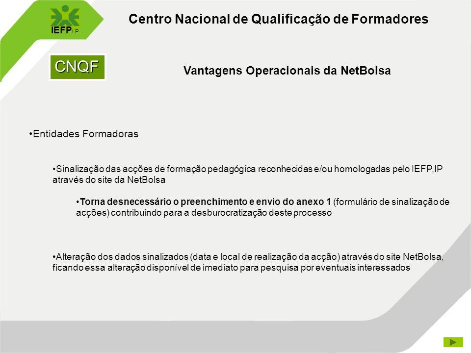 CNQF Centro Nacional de Qualificação de Formadores IEFP I.P. Vantagens Operacionais da NetBolsa Entidades Formadoras Sinalização das acções de formaçã