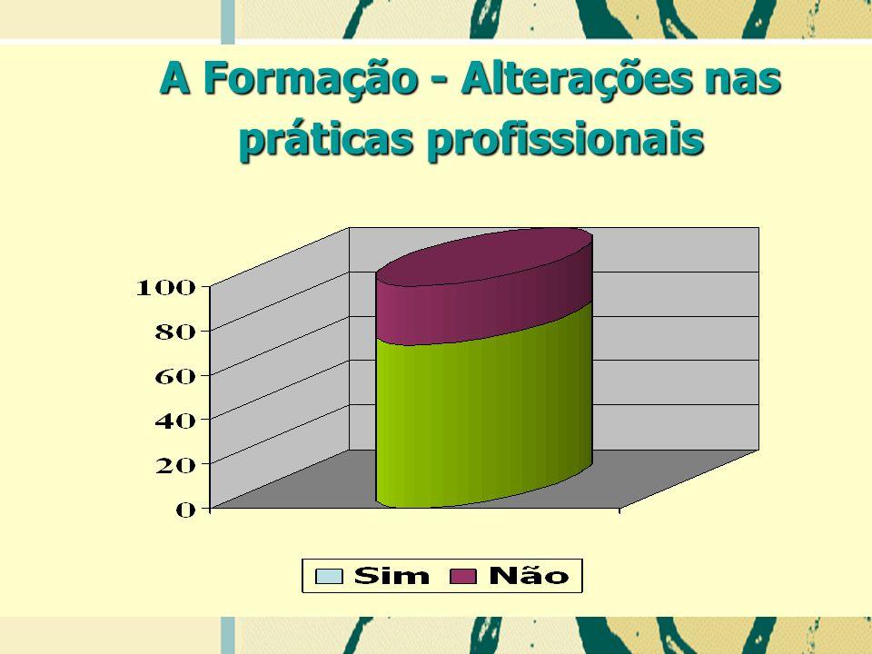 A Formação - Alterações nas práticas profissionais