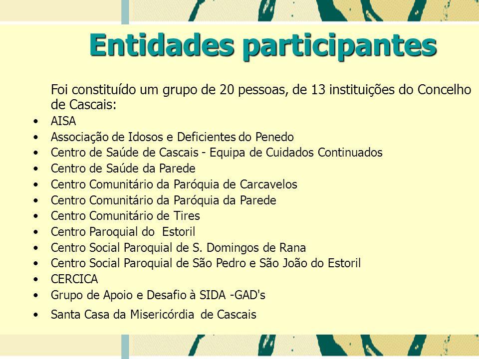 Foi constituído um grupo de 20 pessoas, de 13 instituições do Concelho de Cascais: AISA Associação de Idosos e Deficientes do Penedo Centro de Saúde de Cascais - Equipa de Cuidados Continuados Centro de Saúde da Parede Centro Comunitário da Paróquia de Carcavelos Centro Comunitário da Paróquia da Parede Centro Comunitário de Tires Centro Paroquial do Estoril Centro Social Paroquial de S.