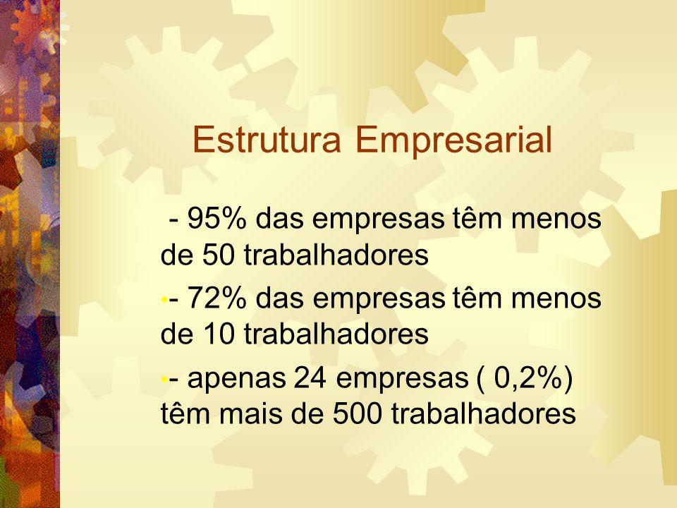 Estrutura Empresarial - 95% das empresas têm menos de 50 trabalhadores - 72% das empresas têm menos de 10 trabalhadores - apenas 24 empresas ( 0,2%) t