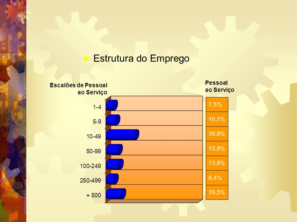 Estrutura do Emprego Pessoal ao Serviço Escalões de Pessoal ao Serviço 16,5% 8,4% 13,8% 12,9% 30,8% 10,1% 7,5%