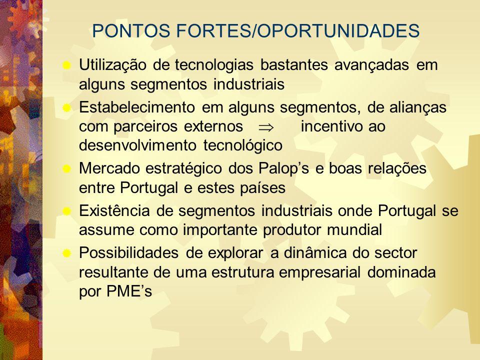 PONTOS FORTES/OPORTUNIDADES Utilização de tecnologias bastantes avançadas em alguns segmentos industriais Estabelecimento em alguns segmentos, de alia
