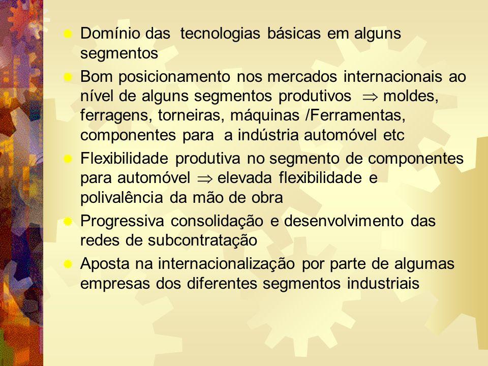 Domínio das tecnologias básicas em alguns segmentos Bom posicionamento nos mercados internacionais ao nível de alguns segmentos produtivos moldes, fer