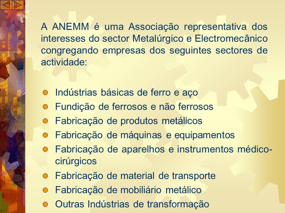 A ANEMM é uma Associação representativa dos interesses do sector Metalúrgico e Electromecânico congregando empresas dos seguintes sectores de activida