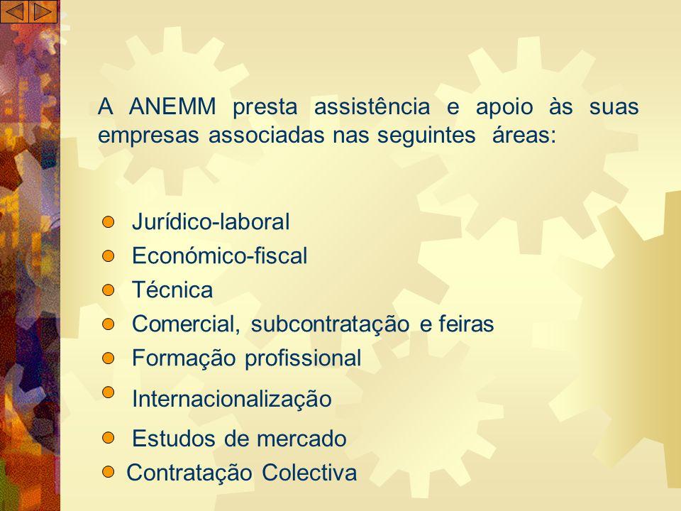 A ANEMM presta assistência e apoio às suas empresas associadas nas seguintes áreas: Jurídico-laboral Económico-fiscal Técnica Comercial, subcontrataçã