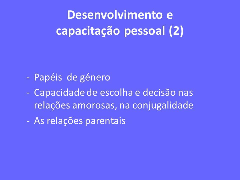 Desenvolvimento e capacitação pessoal (2) -Papéis de género -Capacidade de escolha e decisão nas relações amorosas, na conjugalidade -As relações pare
