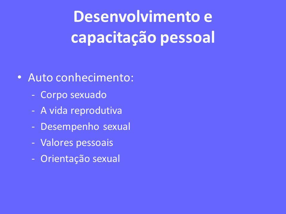 Desenvolvimento e capacitação pessoal Auto conhecimento: -Corpo sexuado -A vida reprodutiva -Desempenho sexual -Valores pessoais -Orientação sexual