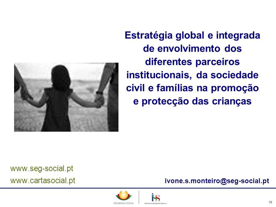 19 www.seg-social.pt www.cartasocial.pt ivone.s.monteiro@seg-social.pt Estratégia global e integrada de envolvimento dos diferentes parceiros instituc