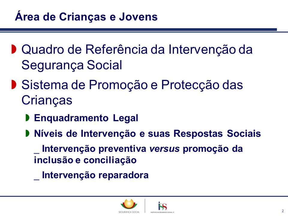 2 Área de Crianças e Jovens Quadro de Referência da Intervenção da Segurança Social Sistema de Promoção e Protecção das Crianças Enquadramento Legal N