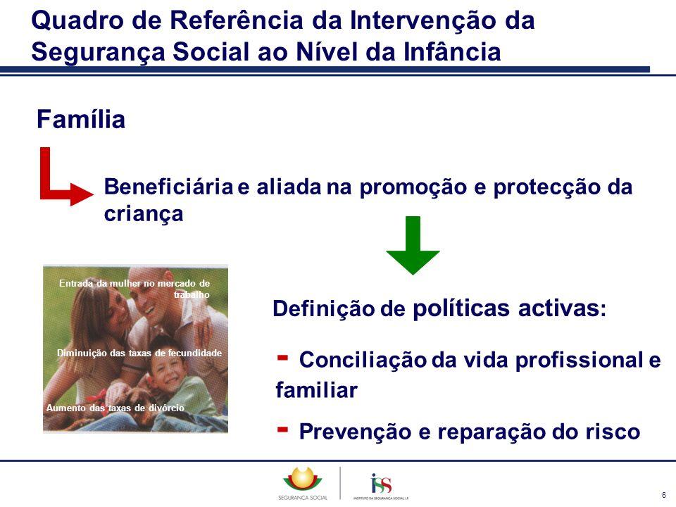 6 Família Beneficiária e aliada na promoção e protecção da criança Quadro de Referência da Intervenção da Segurança Social ao Nível da Infância Defini