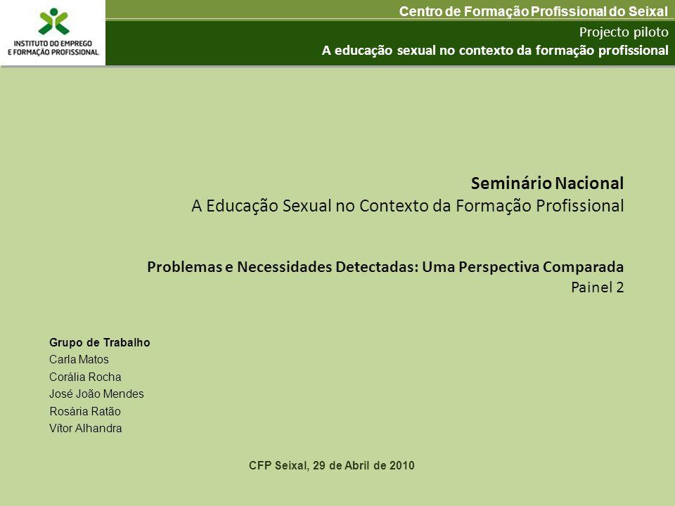 Projecto piloto A educação sexual no contexto da formação profissional Centro de Formação Profissional do Seixal CFP Seixal, 29 de Abril de 2010 Probl