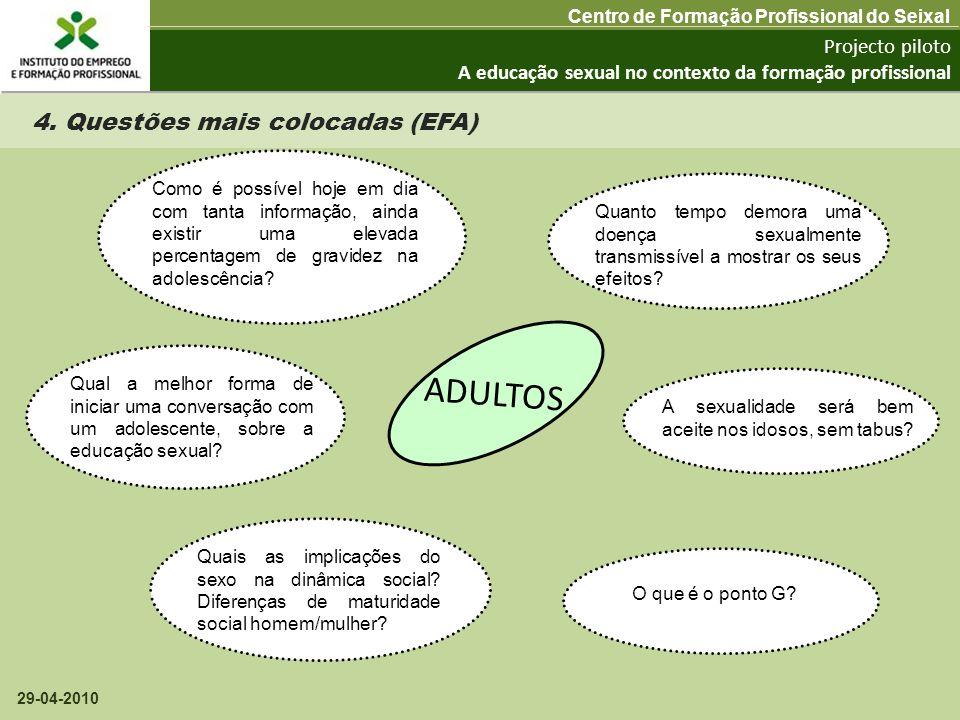 Projecto piloto A educação sexual no contexto da formação profissional Centro de Formação Profissional do Seixal 29-04-2010 4. Questões mais colocadas