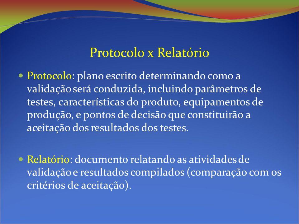 Protocolo x Relatório Protocolo: plano escrito determinando como a validação será conduzida, incluindo parâmetros de testes, características do produto, equipamentos de produção, e pontos de decisão que constituirão a aceitação dos resultados dos testes.