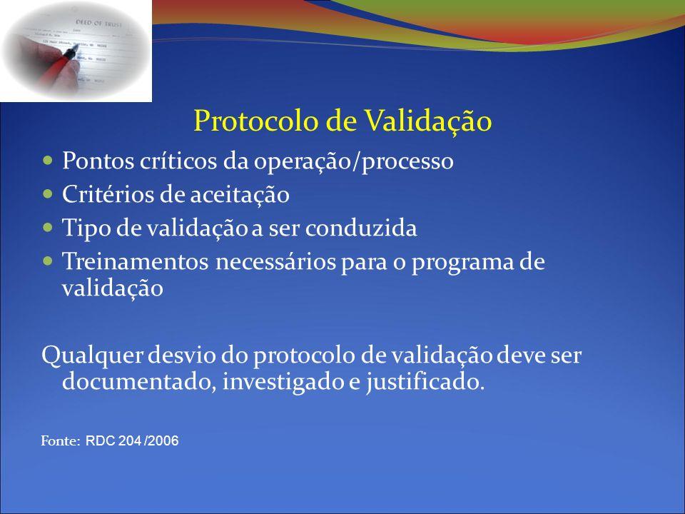 Protocolo de Validação Pontos críticos da operação/processo Critérios de aceitação Tipo de validação a ser conduzida Treinamentos necessários para o programa de validação Qualquer desvio do protocolo de validação deve ser documentado, investigado e justificado.
