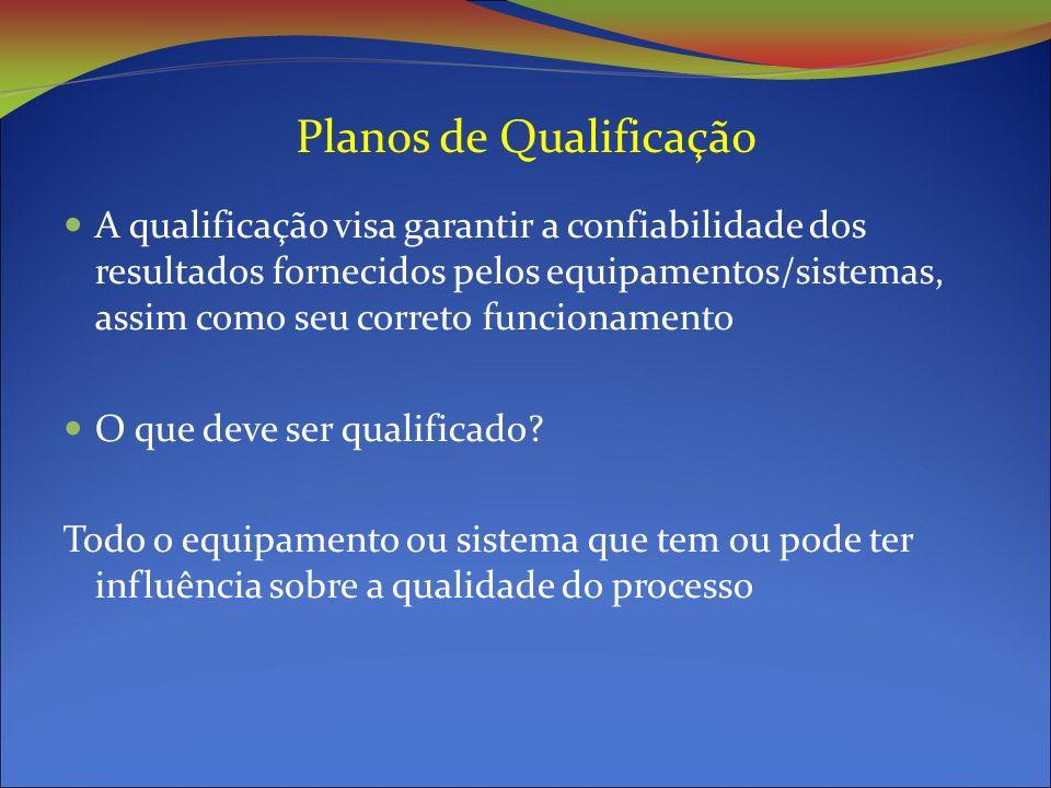 Planos de Qualificação A qualificação visa garantir a confiabilidade dos resultados fornecidos pelos equipamentos/sistemas, assim como seu correto funcionamento O que deve ser qualificado.