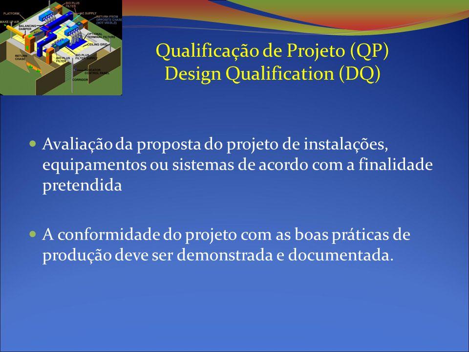 Qualificação de Projeto (QP) Design Qualification (DQ) Avaliação da proposta do projeto de instalações, equipamentos ou sistemas de acordo com a finalidade pretendida A conformidade do projeto com as boas práticas de produção deve ser demonstrada e documentada.