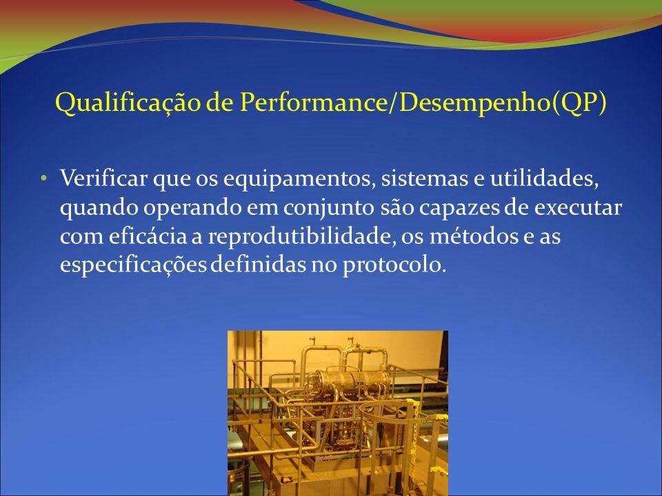 Qualificação de Performance/Desempenho(QP) Verificar que os equipamentos, sistemas e utilidades, quando operando em conjunto são capazes de executar com eficácia a reprodutibilidade, os métodos e as especificações definidas no protocolo.