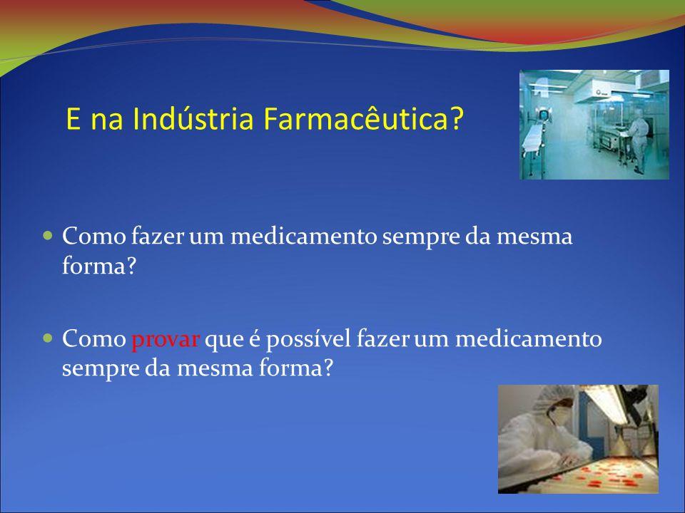 E na Indústria Farmacêutica.Como fazer um medicamento sempre da mesma forma.