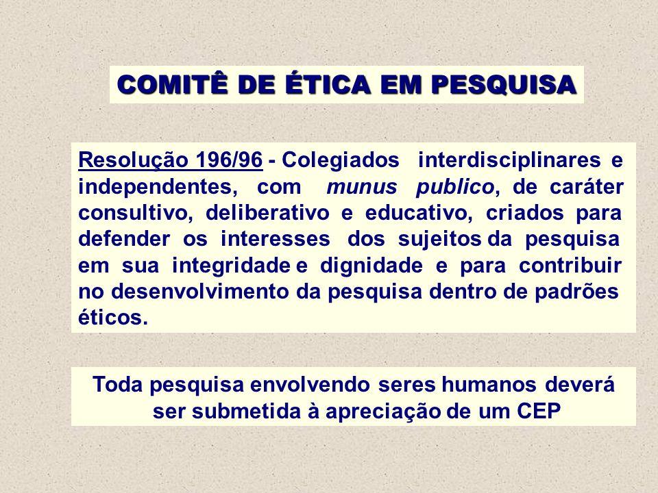 Resolução 196/96 - Colegiados interdisciplinares e independentes, com munus publico, de caráter consultivo, deliberativo e educativo, criados para def