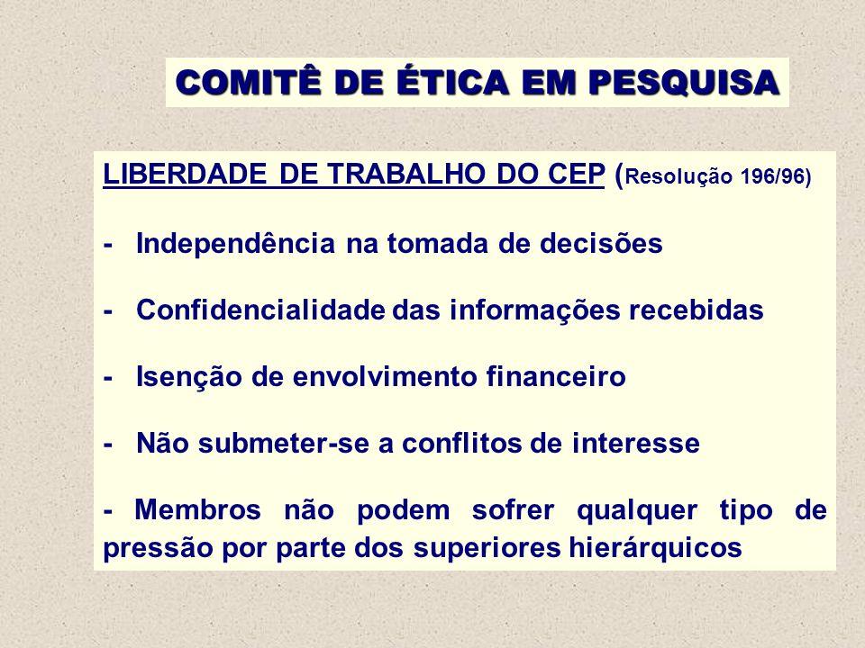 COMITÊ DE ÉTICA EM PESQUISA LIBERDADE DE TRABALHO DO CEP ( Resolução 196/96) - Independência na tomada de decisões - Confidencialidade das informações