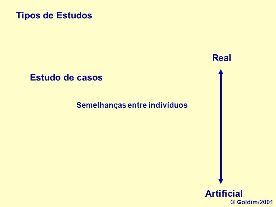 Tipos de Estudos Estudo de caso individual Real Artificial Casos paradigmáticos © Goldim/2001