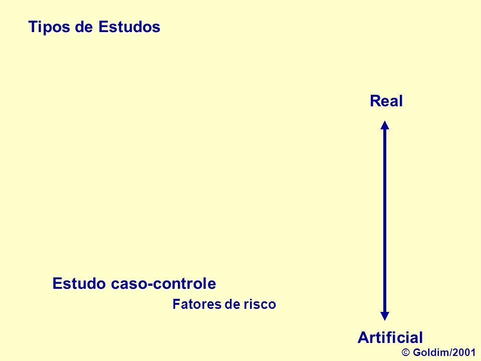 Tipos de Estudos Estudo de Coorte Real Artificial Estudo ao longo do tempo Incidência © Goldim/2001