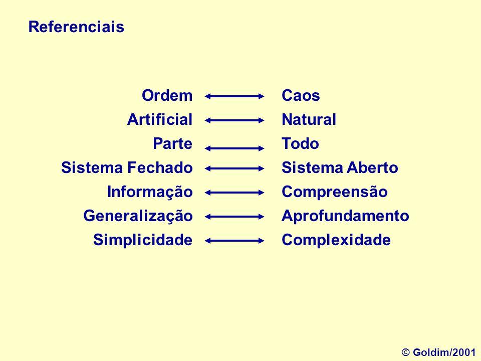 Ordem Artificial Parte Sistema Fechado Informação Generalização Simplicidade Caos Natural Todo Sistema Aberto Compreensão Aprofundamento Complexidade Referenciais © Goldim/2001