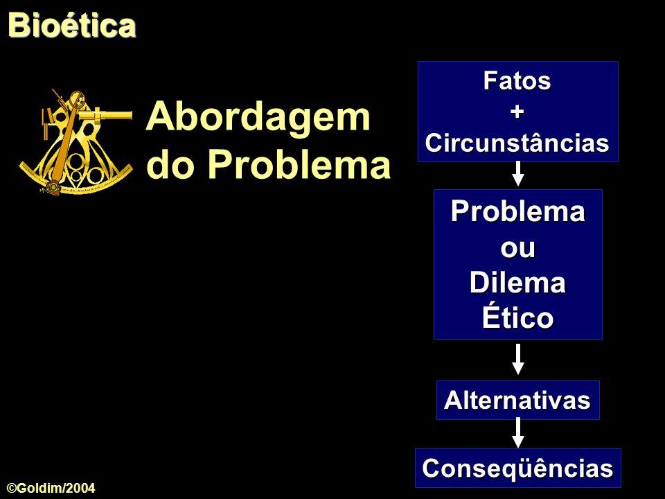 Fatos+Circunstâncias Alternativas Problema ou Dilema Ético Conseqüências Abordagem do ProblemaBioética ©Goldim/2004