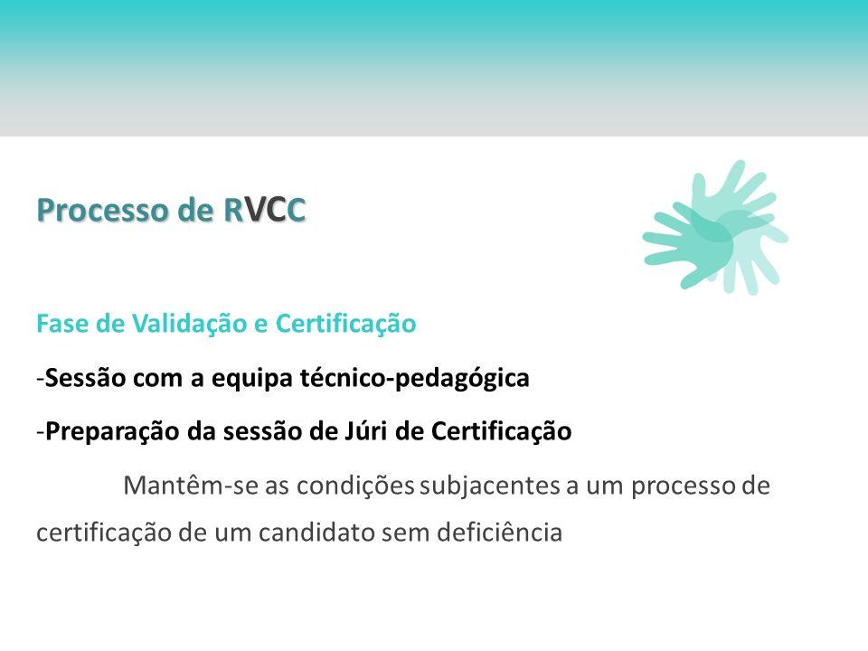 Processo de R VC C Fase de Validação e Certificação -Sessão com a equipa técnico-pedagógica -Preparação da sessão de Júri de Certificação Mantêm-se as condições subjacentes a um processo de certificação de um candidato sem deficiência