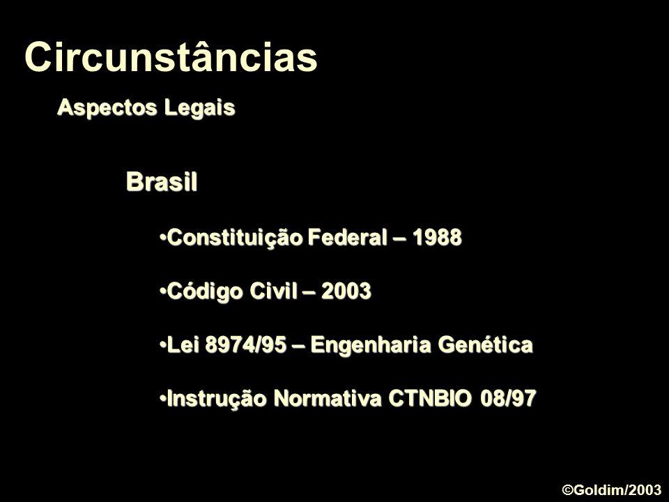 Brasil Constituição Federal – 1988Constituição Federal – 1988 Código Civil – 2003Código Civil – 2003 Lei 8974/95 – Engenharia GenéticaLei 8974/95 – En