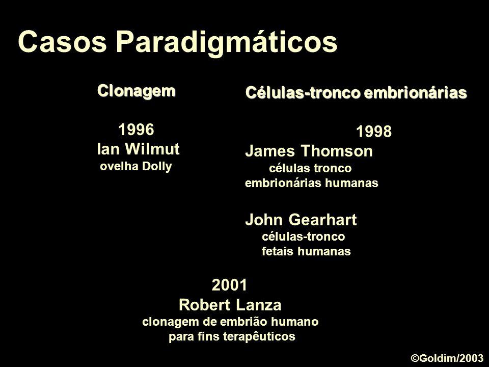 Casos Paradigmáticos 2001 Robert Lanza clonagem de embrião humano para fins terapêuticos Clonagem 1996 Ian Wilmut ovelha Dolly Células-tronco embrioná